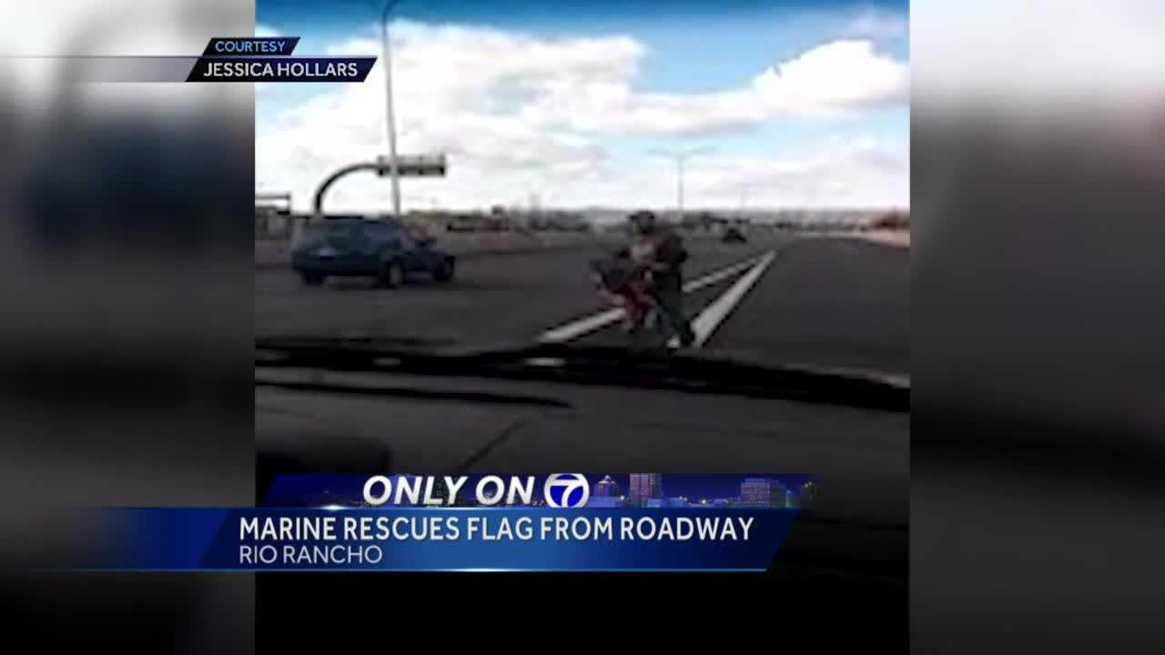 A Rio Rancho marine spotted something lying on the highway. He pulled over and picked it up, turns out it was an American flag.