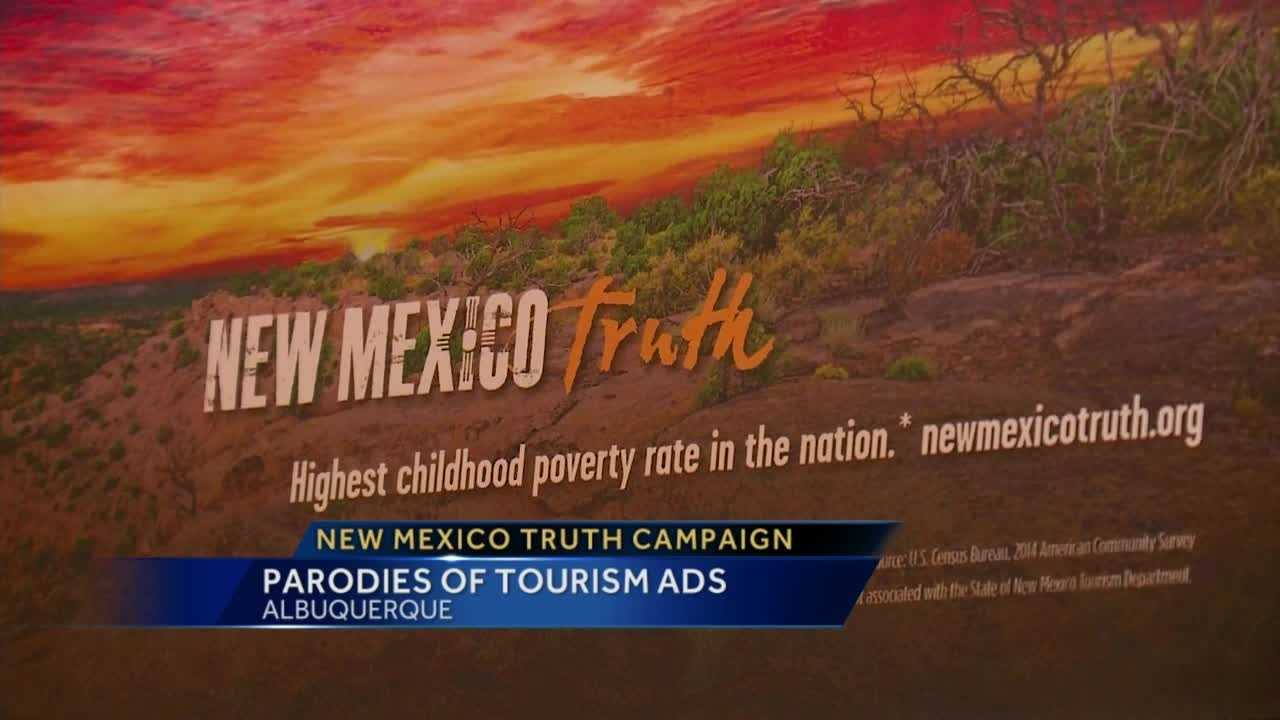 """Images of New Mexico landscapes paired with sobering statements about hunger and poverty -- it's called \""""New Mexico Truth,\"""" and is based on a state tourism campaign."""