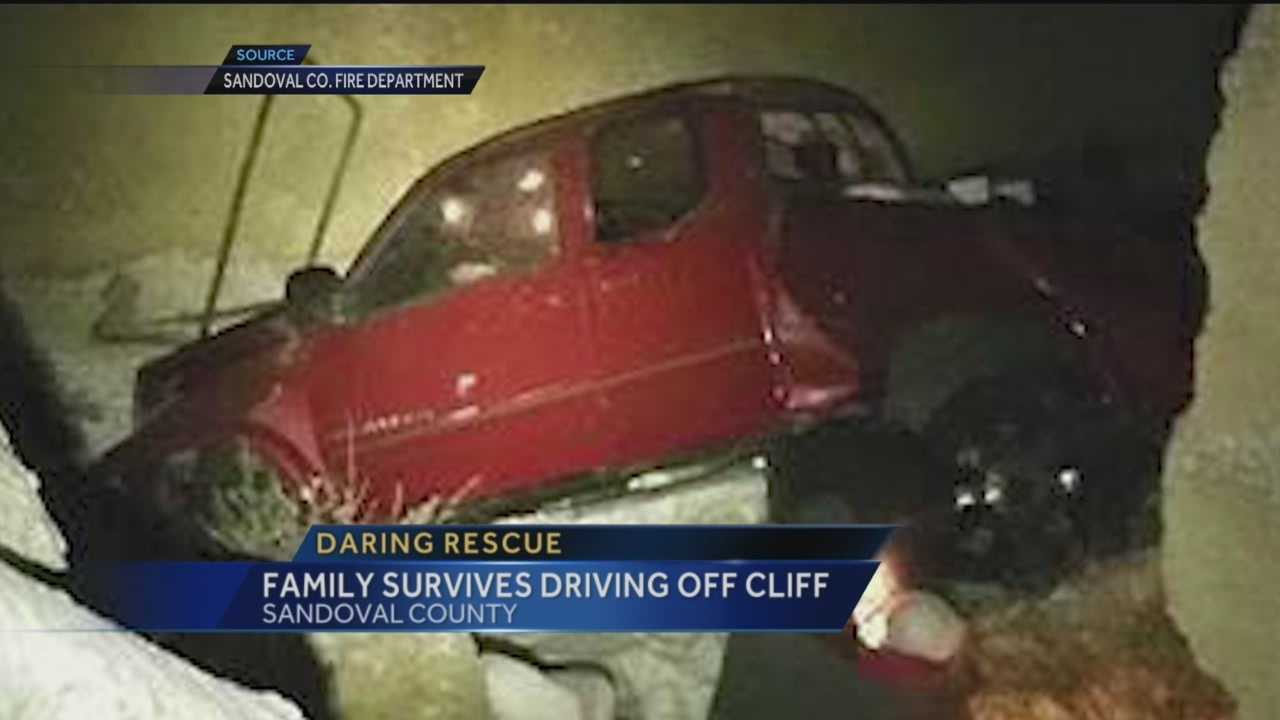 A family is recovering after driving off a cliff in Sandoval County.