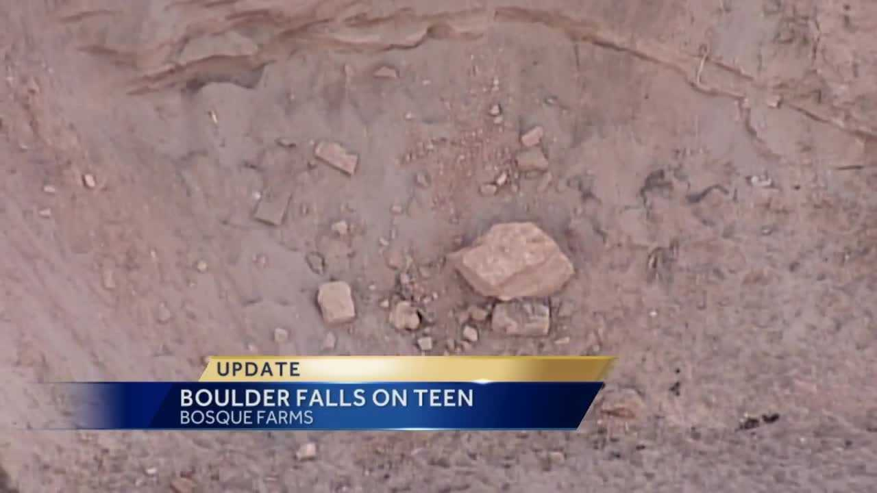 A 13-year-old boy was airlifted to Albuquerque Tuesday evening after a boulder rolled down a hill and struck him.