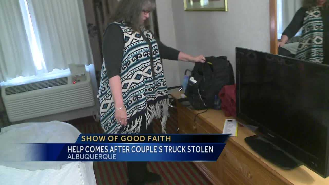 A couple from Missouri who stopped in Albuquerque had their truck stolen from a hotel.  But now they're getting some help from good people in the area.