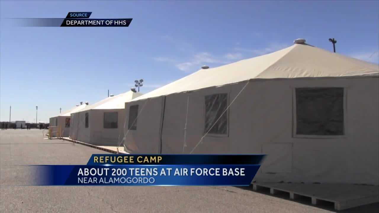 What used to be storage space on Holloman Air Force Base is now home to hundreds of young refugees.