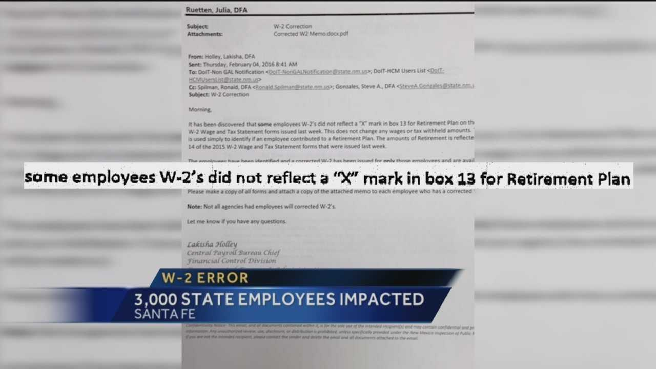 More than 3,000 W-2s for state employees have mistakes.