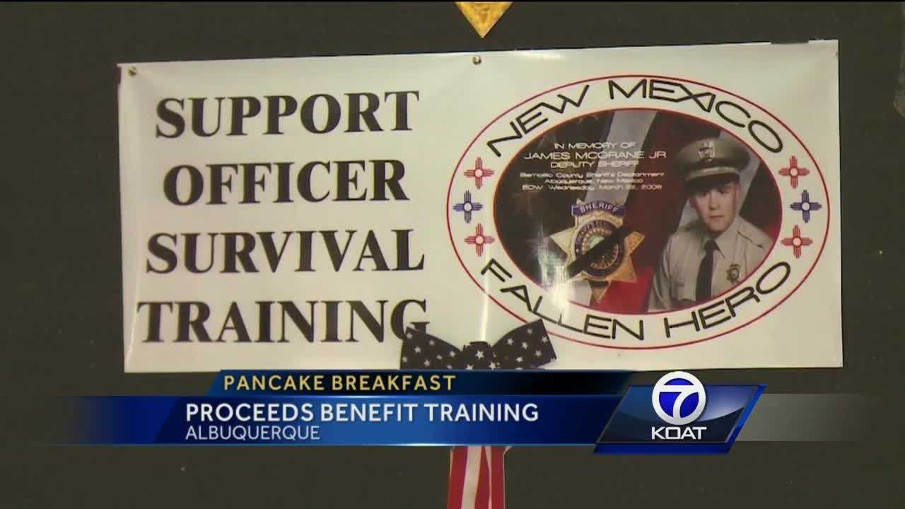 Dozens of people show up for the Officer Survival Training Pancake Breakfast.