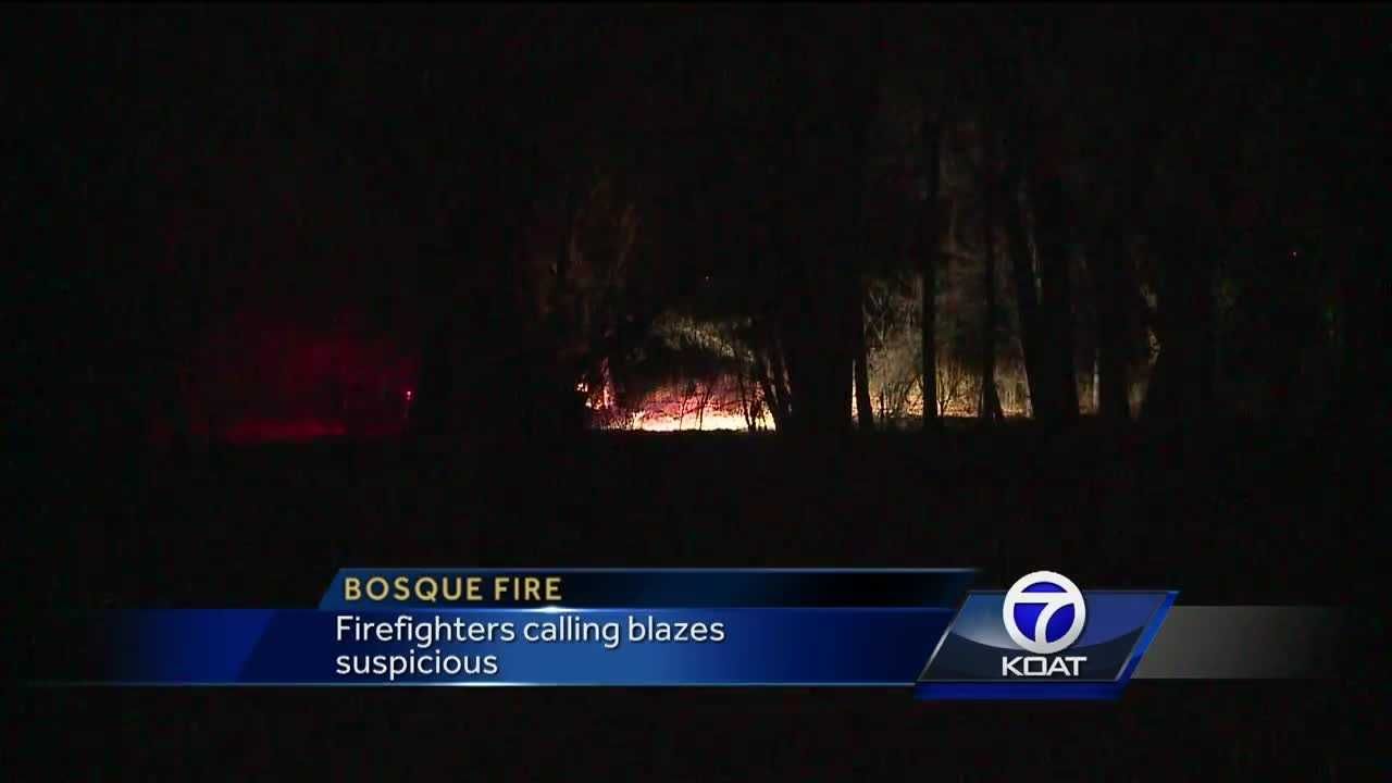 Bosque fires burn on Sunday