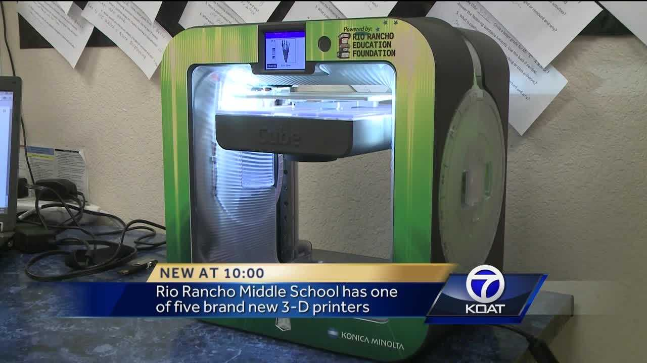 Students in five Rio Rancho middle schools are getting a unique opportunity to have a 3-D printer in their classroom.