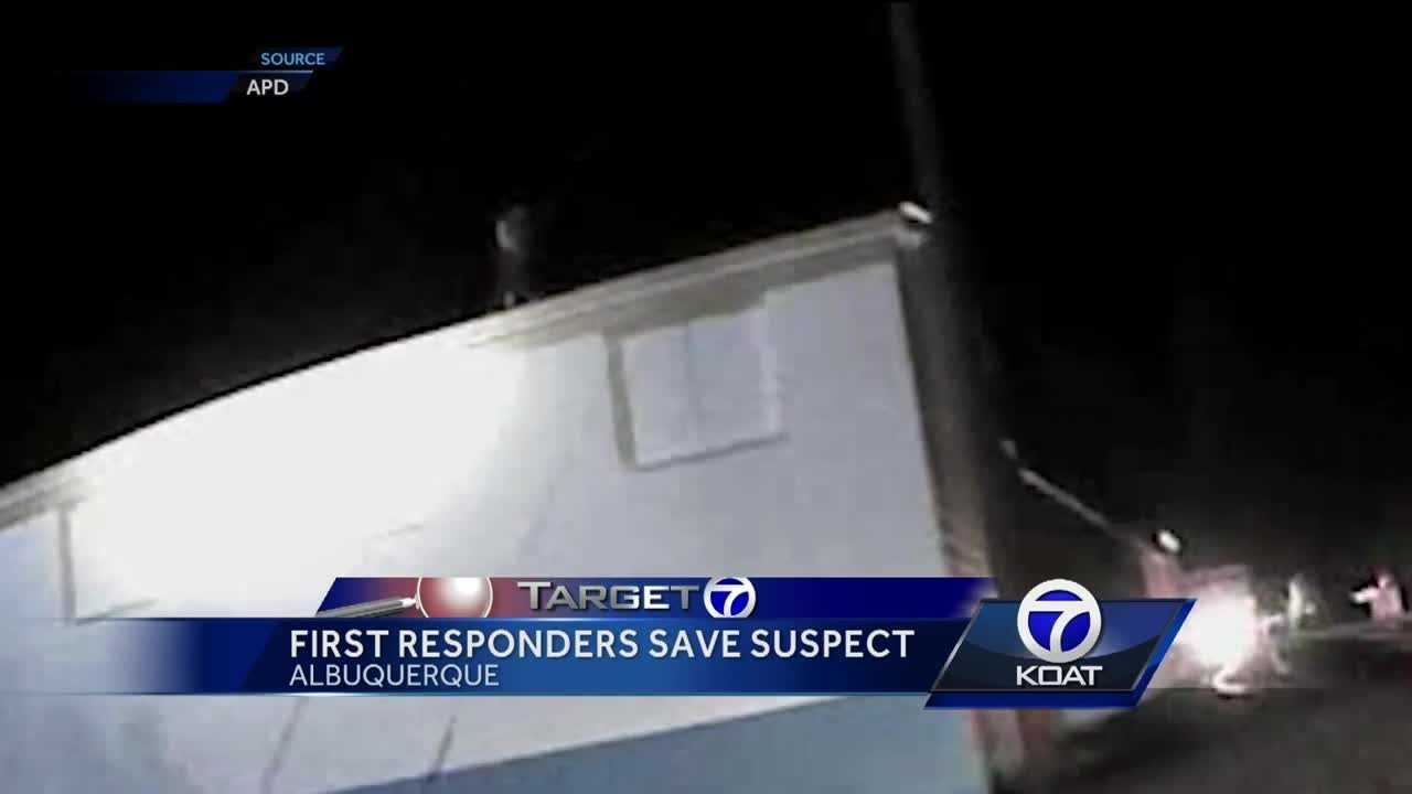 First responders save suspect.