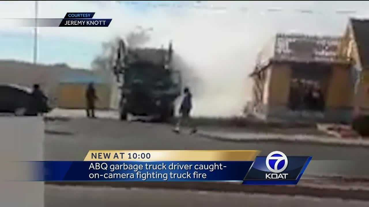 ABQ garbage truck driver caught-on-camera fighting truck fire.