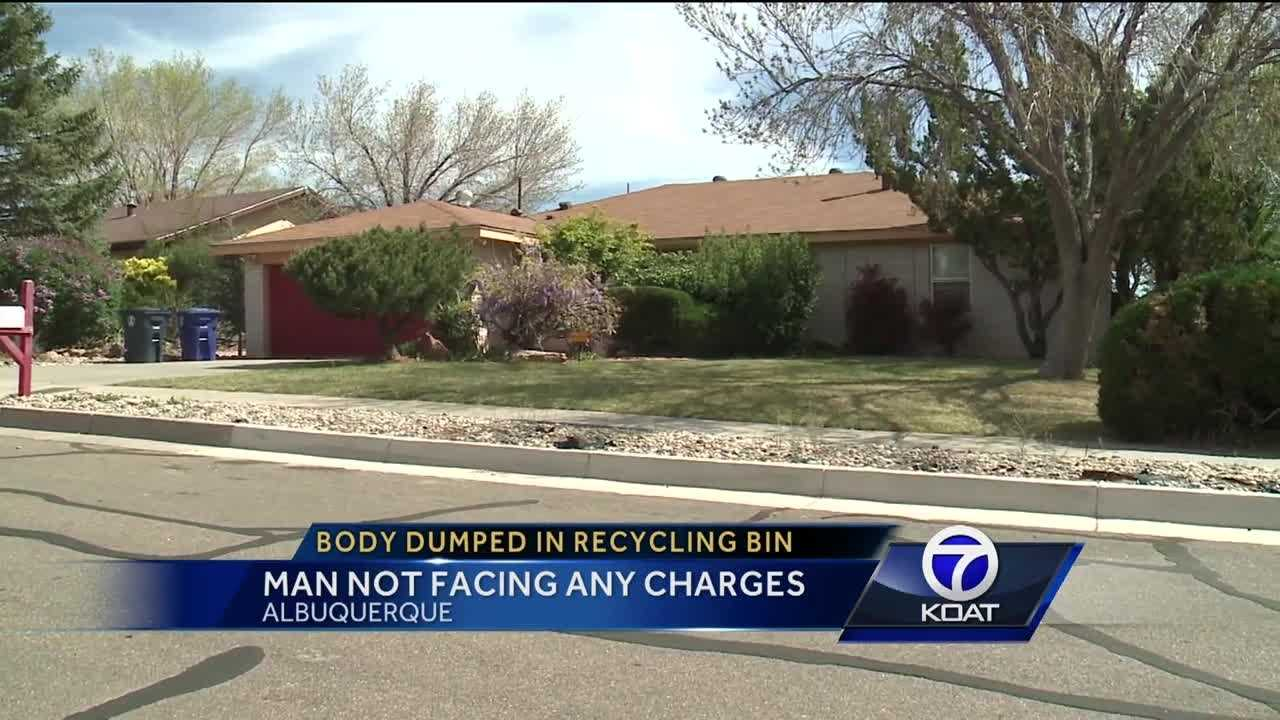 Man not facing any charges after he put a woman's body in a recycling bin and put it in the east mountains.