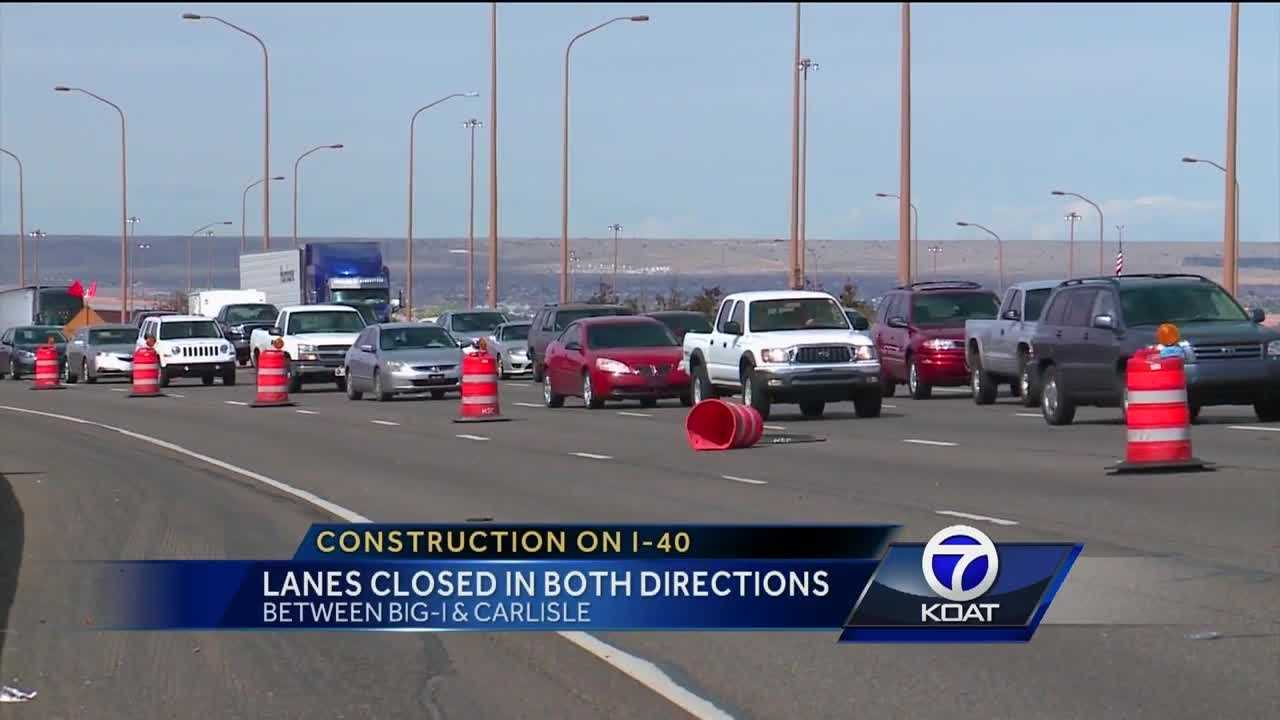 Three lanes closed in both directions between the Big-I and Carlisle.