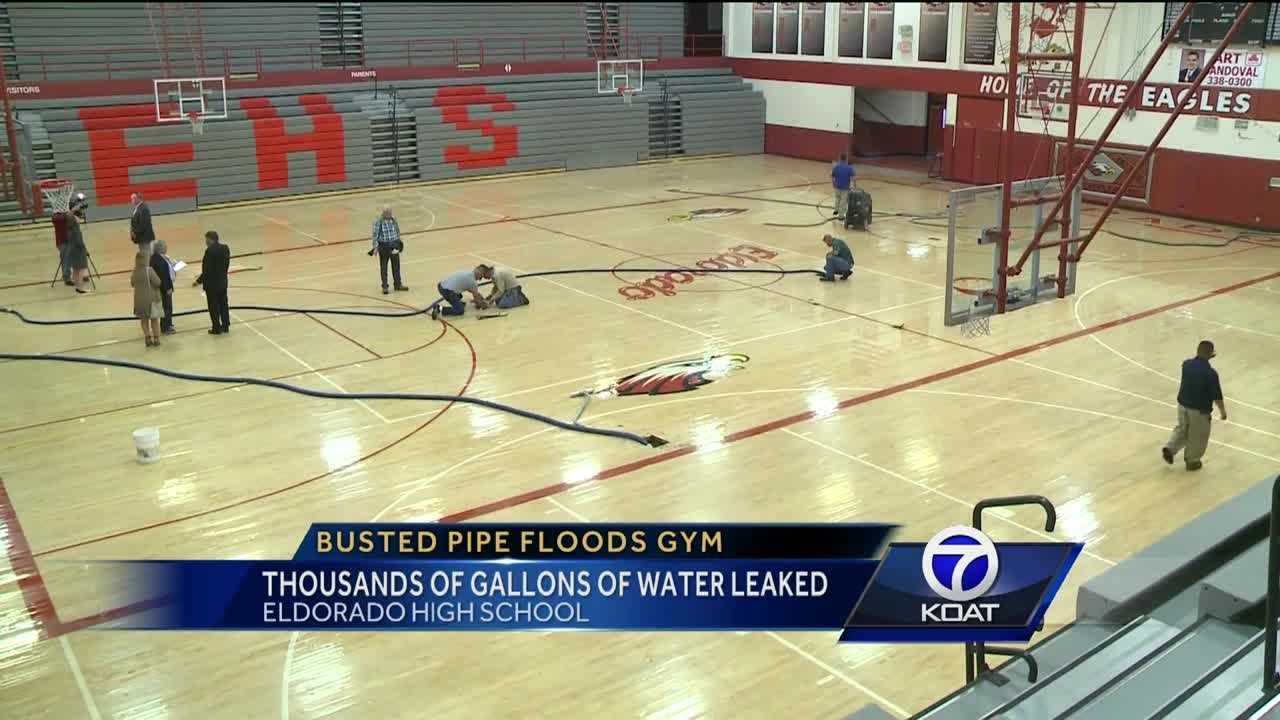 Busted pipe floods Eldorado High School gym floor