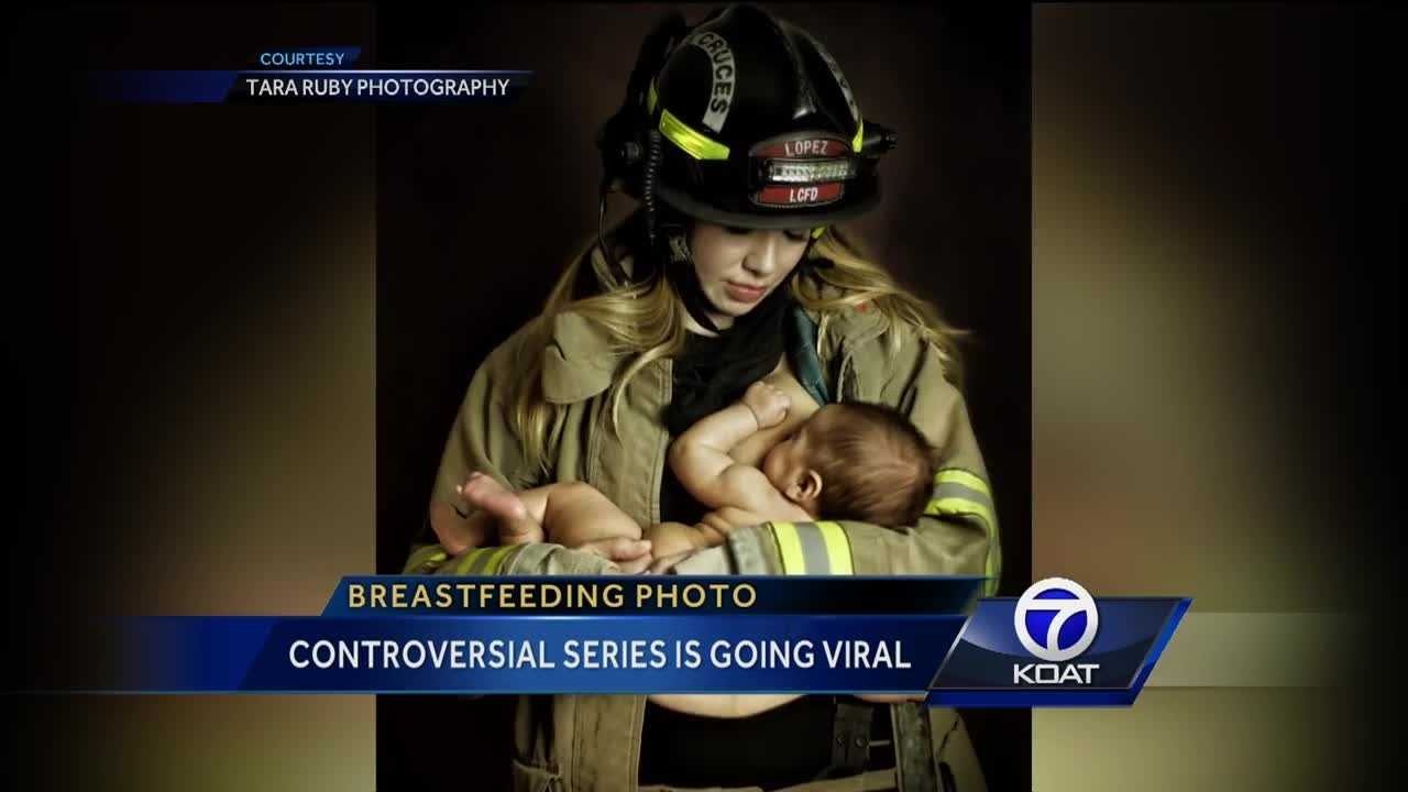 A controversial series of breastfeeding photos have gone viral.