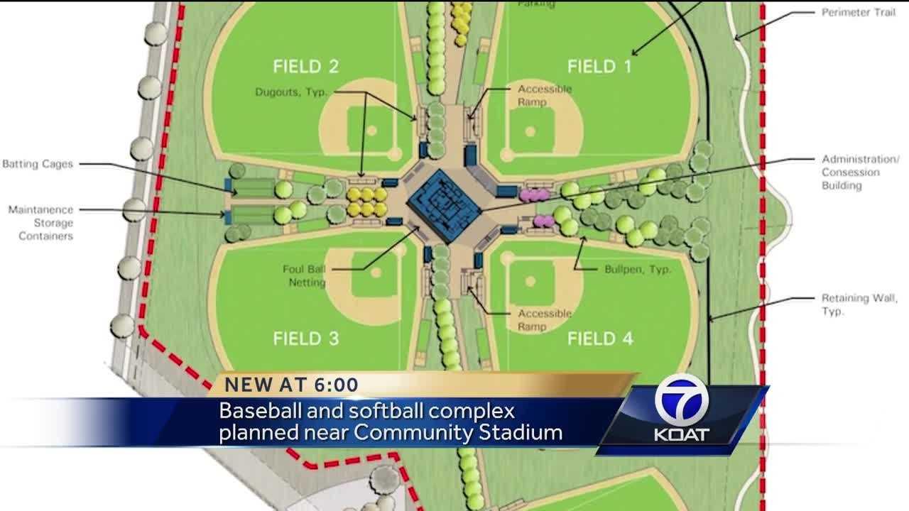 Baseball and softball complex planned near Community Stadium.