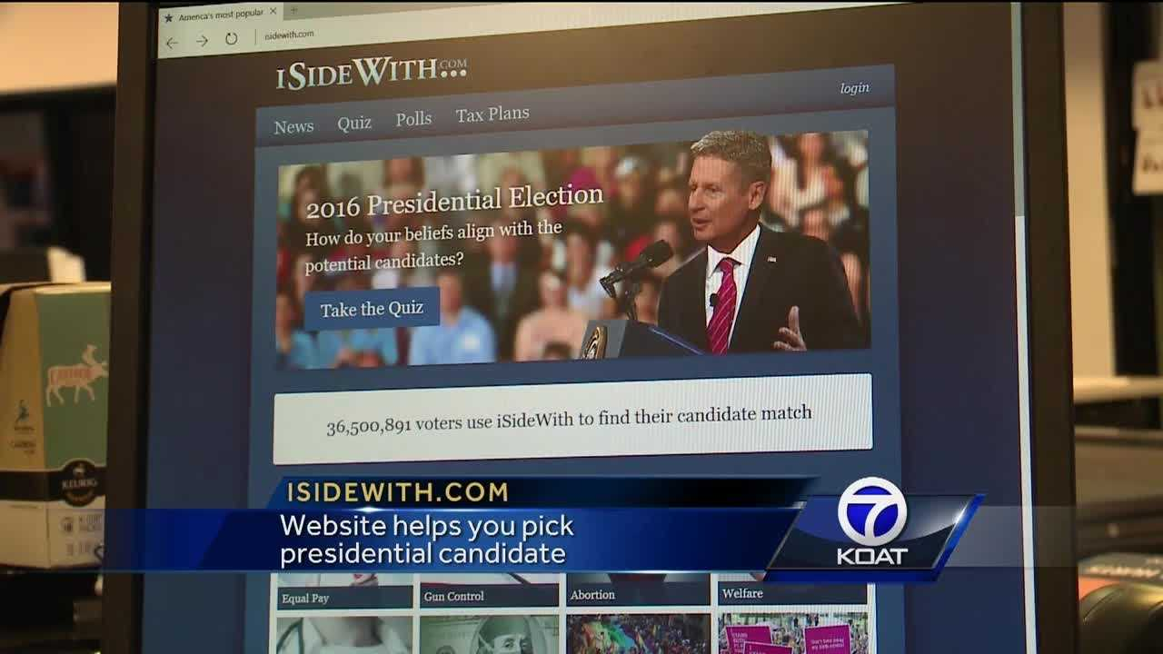 The website isidewith.com helps you pick winch presidential candidate matches your views the best.