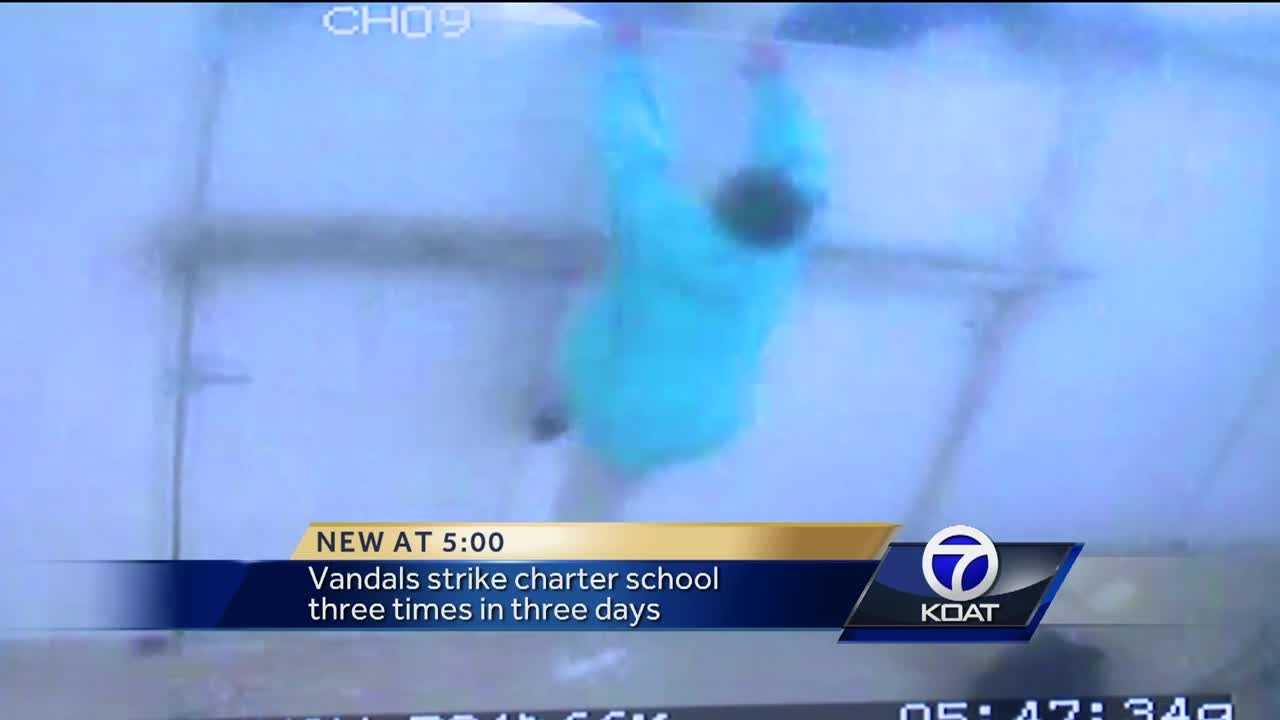 Vandals strike charter school three times in three days.