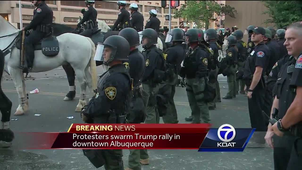 Protesters quickly got out of hand after Donald Trump took the stage in Albuquerque Tuesday evening.