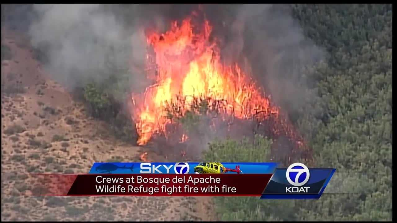 Sky 7 shows firefighters burning the edges of containment lines with flares and a mixture of diesel and gas.