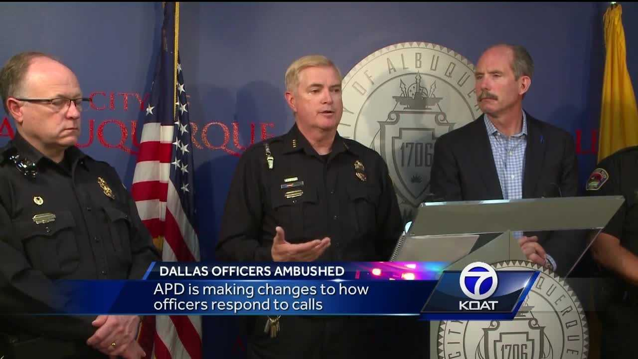 The Albuquerque Police Chief said he is having officers double up when they go out to calls. He is also revisiting how his department responds to protests.