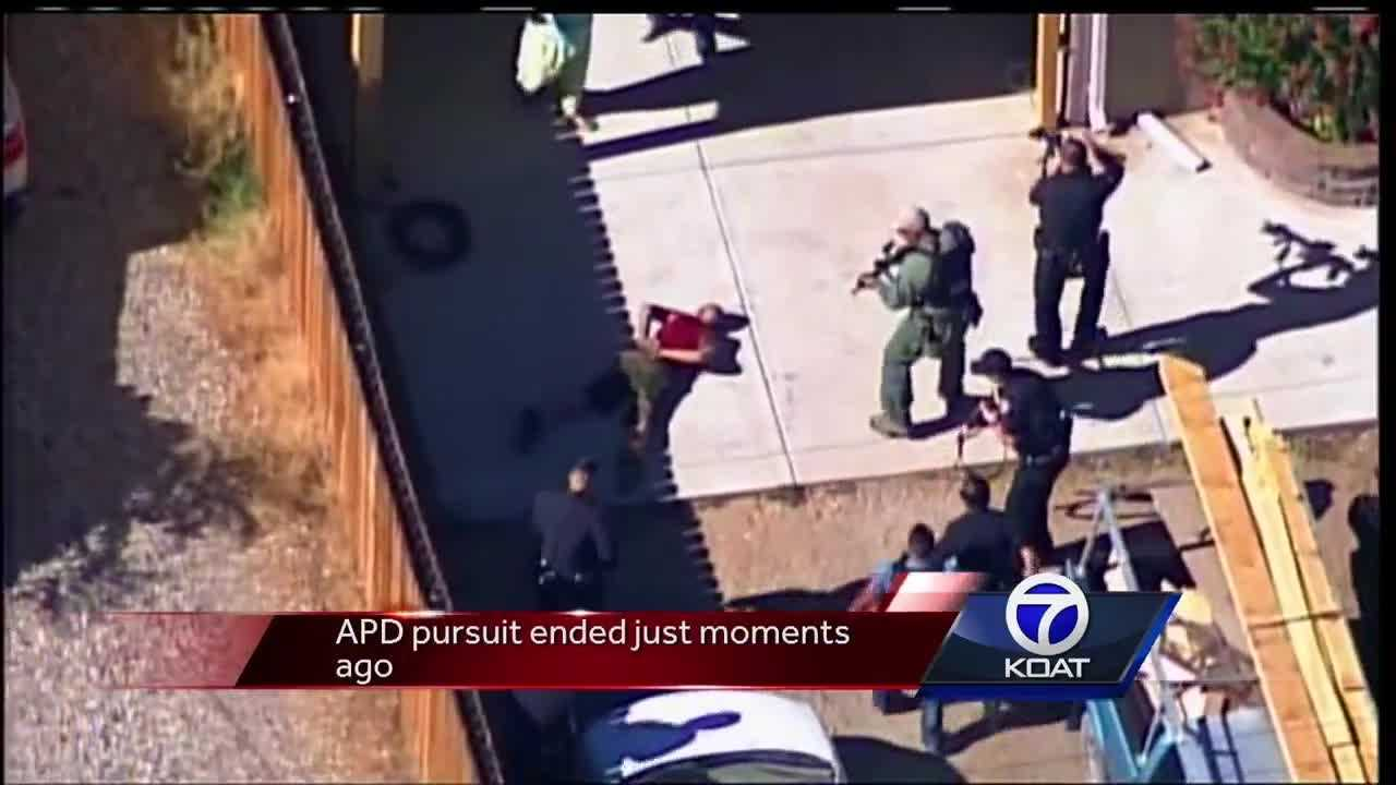 Albuquerque Police Department officers pursued a high speed chase suspect Tuesday afternoon.