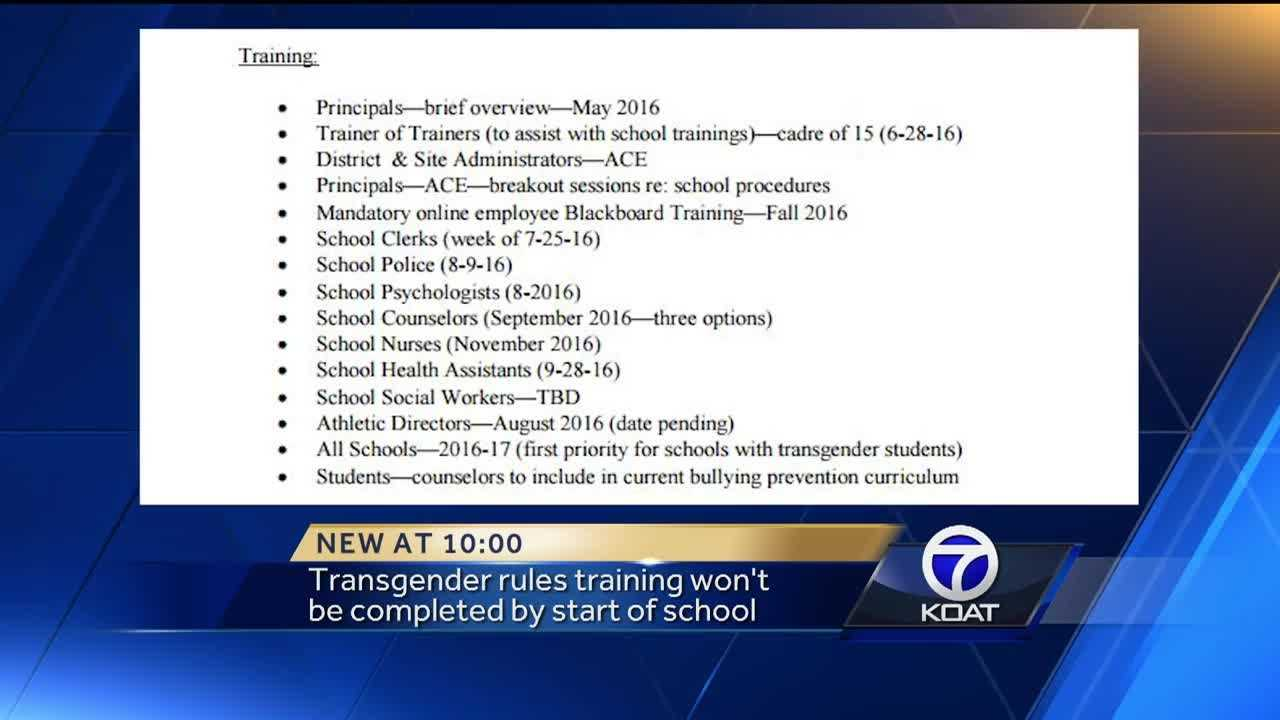Transgender training won't be completed by the start of the school year.