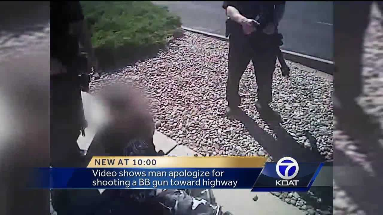 Video shows man apologize for shooting a BB gun toward highway.