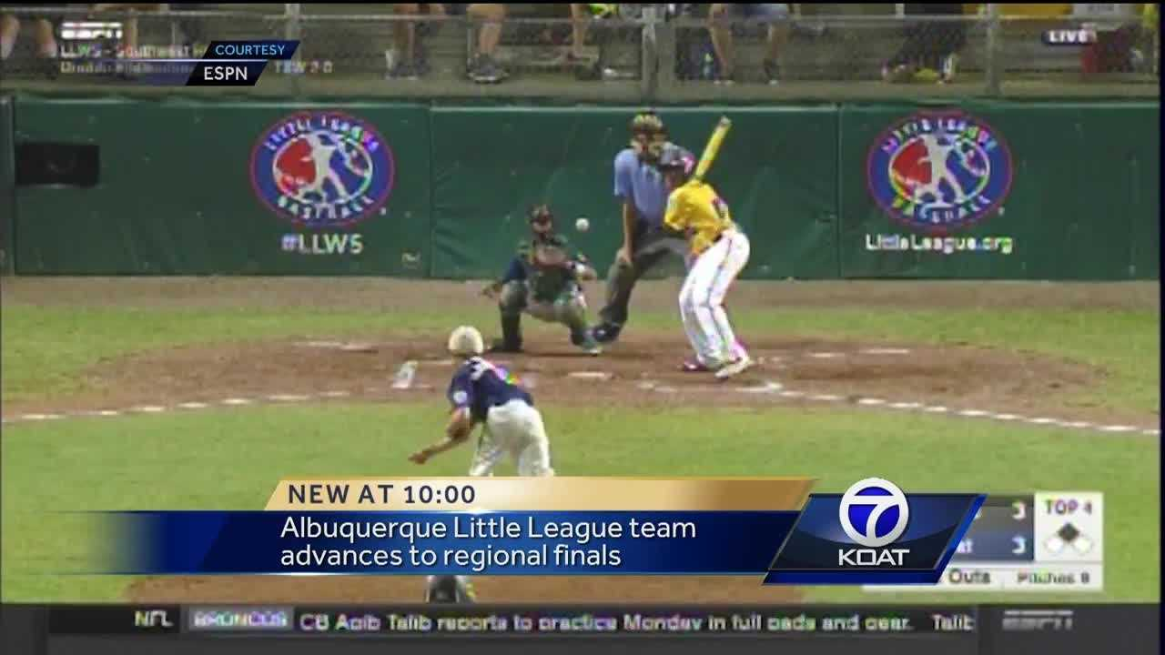 A team of Albuquerque little leaguers are one step closer to the World Series after winning Monday night. The Eastdale All-Stars advanced to the Southwest Regional Finals, beating West Texas 9-6.