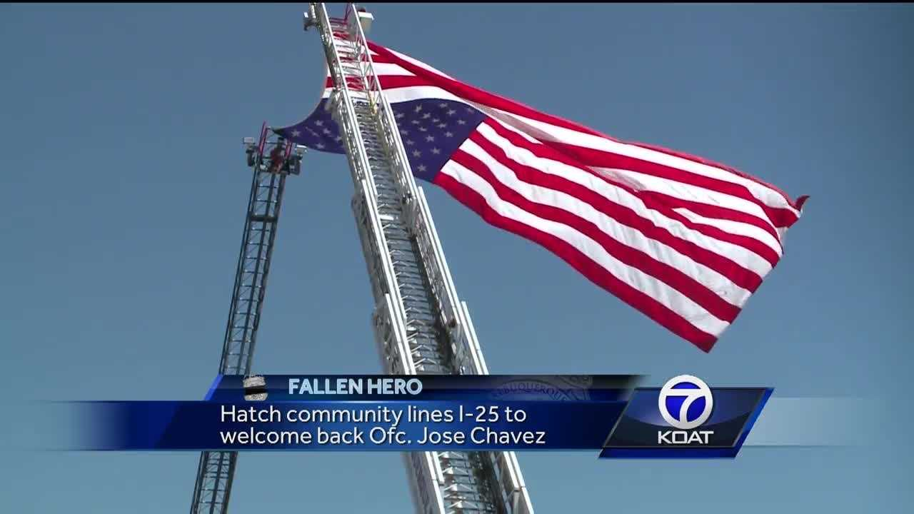 Hatch community lines I-25 to welcome back Ofc. Jose Chavez.