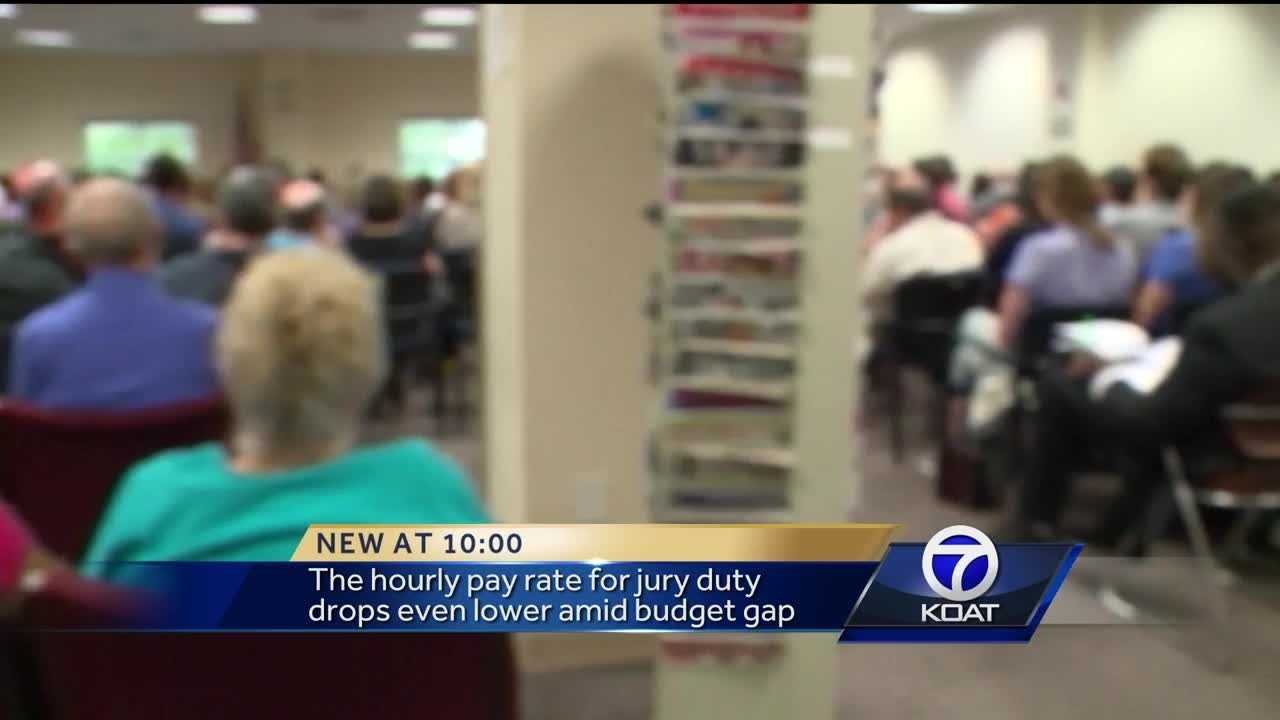 The hourly pay rate for jury duty drops even lower amid budget gap.