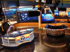 A view of the main desk and the weather center.