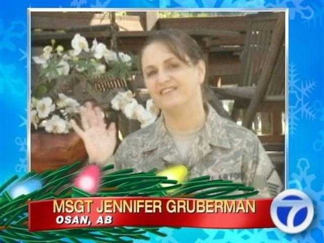 Master Sgt. Jennifer Gruberman sends her greetings from Osan Air Base.