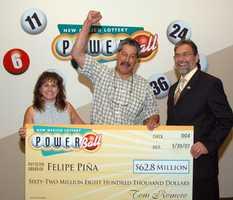 4. Felipe Piña, Los Ojos won $62.8 million through a Powerball jackpot