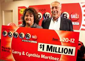 10. Larry and Cynthia Martinez cashed in a $1 million Powerball ticket.