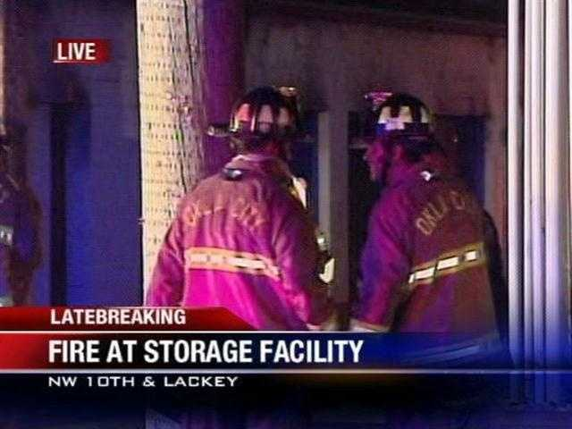 Fire officials think a man using a candle to light his storage unit accidently started a fire just before 4 a.m. near Northwest 10th and Lackey.