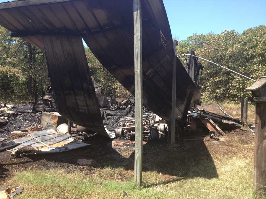 KOCO Eyewitness News 5's Naveen Dhaliwal shot these pics from the scene of the fire damage, near SE 149th and Hiwassee Road, midday Thursday.