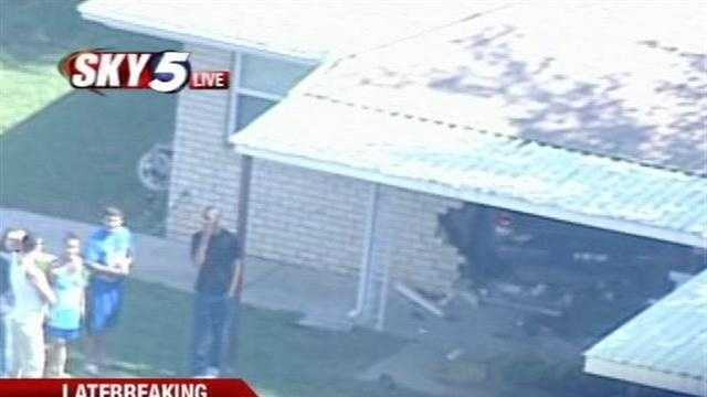 Sky5 flies over the scene of a truck that drove right into a home at Southwest 59th Street and Western Avenue.