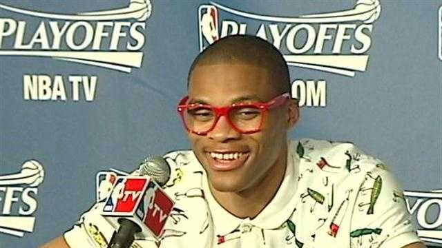 Oklahoma City Thunder star Russell Westbrook's fashion statement after the game drew comments and laughs from teammates and TV personalities.