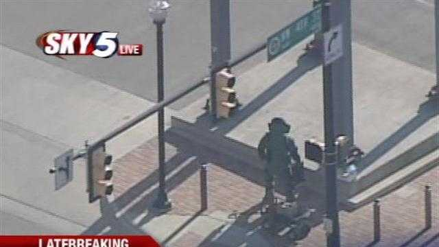 Oklahoma City police are investigating a suspicious substance found downtown.