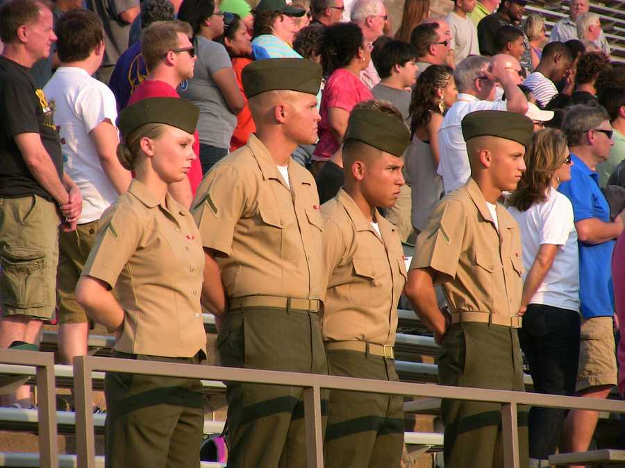 Just a few of the service men and women in attendance at the Oil Bowl game.