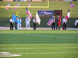 Pre-game presentation of colors.