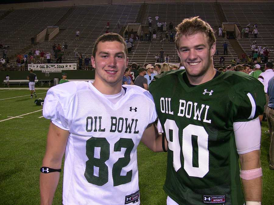 McCall Maddox of Texas (white) and Kurt Byers of Oklahoma (green), may have played on opposite sides, but this fall they will both be heading to Texas Christian.
