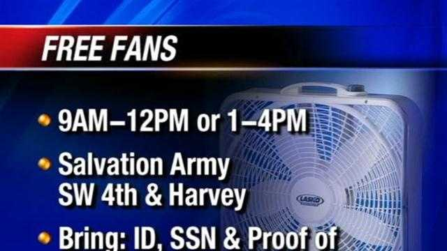 Senior citizens can get free fans this week from the Salvation Army.