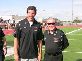 Sam Bradford, former University of Oklahoma quarterback and the first Native American Heisman winner, with Bill Thorpe, the son of Jim Thorpe were special guests for the first Jim Thorpe all-star football game.