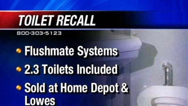 A manufacturer is recalling toilets Friday after saying the unit's flushing system could cause the toilet to burst.