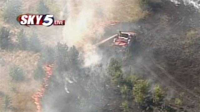 Firefighters were called to Fourth Street and Czech Hall Road late Tuesday afternoon to battle a 10-acre grass fire.