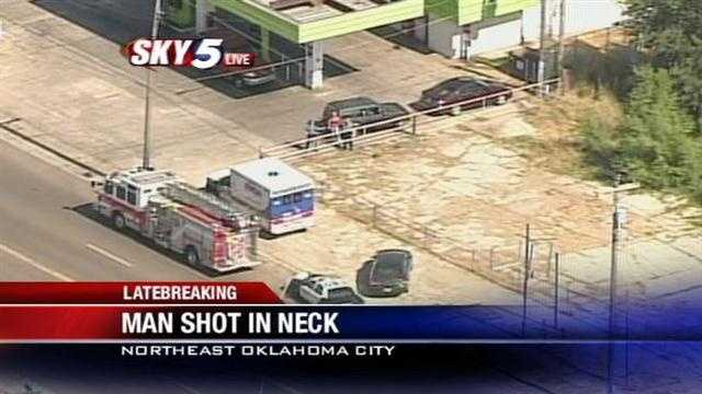 Police are looking for two people involved in a shooting in Northeast Oklahoma City. Sky5 was above the scene and shot this video.