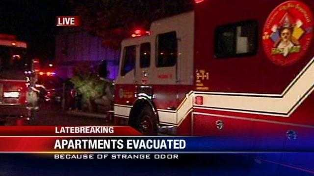 Firefighters evacuated four people from an apartment complex in southeast Oklahoma City after a tenant came home to a suspicious smell.