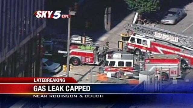 Firefighters have capped a gas leak in downtown Oklahoma City Friday morning.