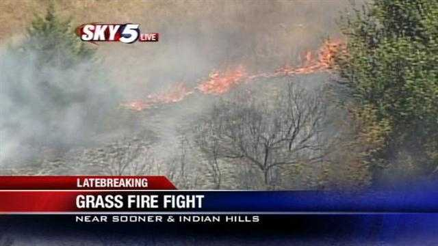 Sky5 is over the scene of a wildfire in the Moore area near Sooner and Indian Hills roads on Thursday.