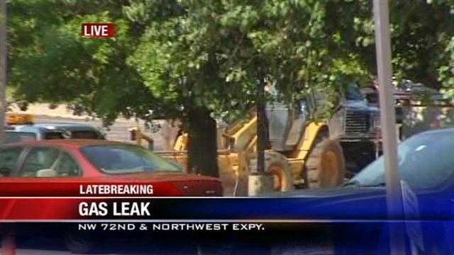 Fire crews are at the scene of a gas leak in northwest Oklahoma City at 72nd and Northwest Expressway.