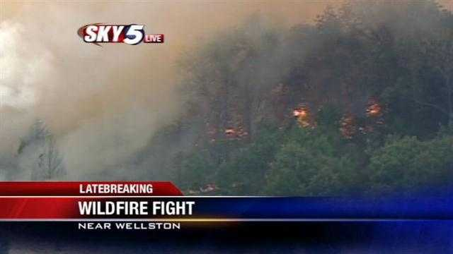 Sky5's Chad Browning has the report from southwest of Wellston, where a wildfire is burning on Friday afternoon.